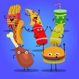Eğlenceli çizgi karakterler; fast food - 191540215