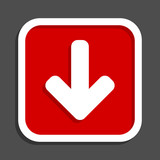 Download arrow vector icon. Flat design square internet red button. - 191545859