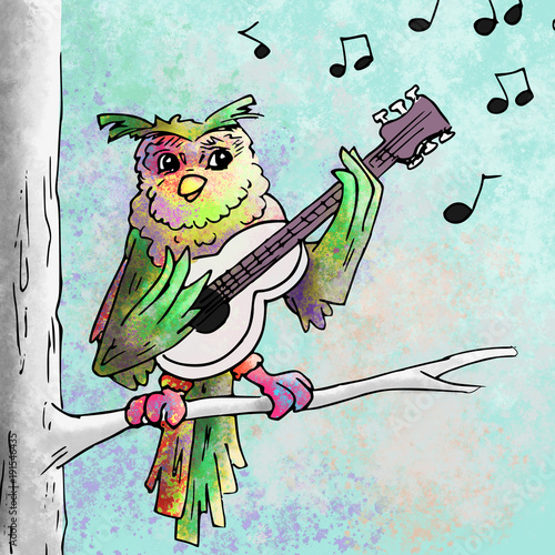 Foto op Plexiglas Uilen cartoon Uil zingt een lied
