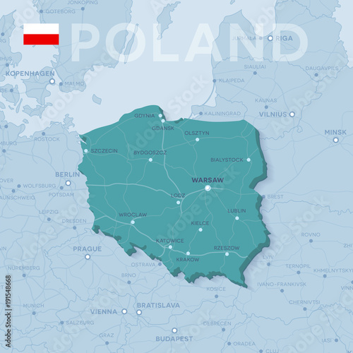 Fototapeta Map of cities and roads in Poland.
