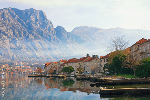 Keuken foto achterwand Wit Winter Meditarranean landscape . Montenegro, view Bay of Kotor, Lovcen mountain and Prcanj town
