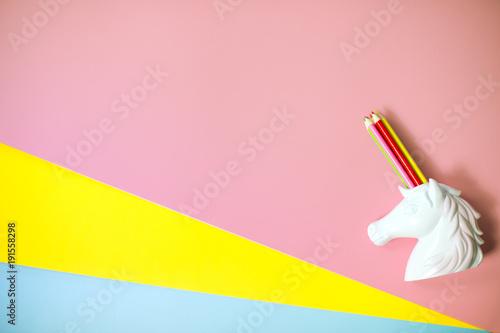 Aluminium Pop Art top view pop art unicorn stationery holder rainbow pencils