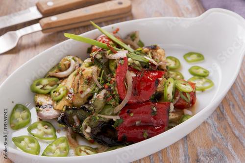 salad grilled vegetables stewed vegetarian dish