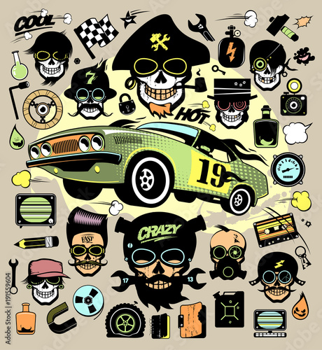 Set Of Fashion Icons And Symbols With Race Car Hipster Skulls Buy