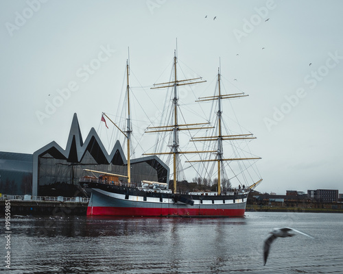 Fotobehang Schip Glenlee, steel-hulled three-masted barque. She is now a museum ship at the Riverside Museum on Pointhouse Quay, Glasgow, known as The Tall Ship at Glasgow Harbour