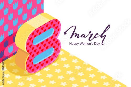 8 march vector horizontal bannerd international womens day number 8 march vector horizontal bannerd international womens day number eight in 3d isometric style stopboris Gallery