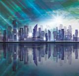 Night City skyline, vector illustration - 191565447