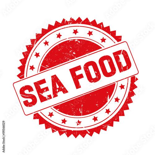 Fototapeta Sea Food red grunge stamp isolated