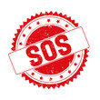 Sos red grunge stamp isolated