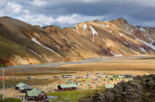Fotobehang Beige The Camping Ground at Landmannalaugar Area, which is a place in the Fjallabak Nature Reserve in the Highlands of Iceland.