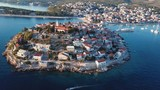 Aerial panorama of marina and resort adriatic town Primosten, Croatia. - 191569436