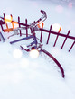 Bicycle in snow, with bokeh light effect