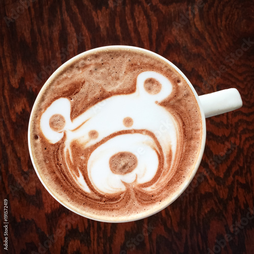 Poster Chocolade Cute teddy bear drawing on hot chocolate cup