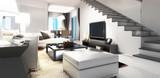 Modern Villa Interior Concept (panoramic) - 191590635