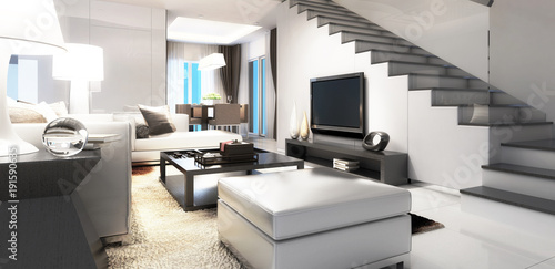 Modern Villa Interior Concept (panoramic)