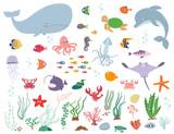 Sea animals and water plants. Cartoon vector illustration - 191593404