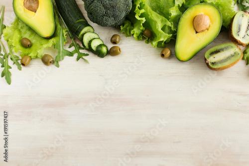 Spring harvest of green fruits and vegetables