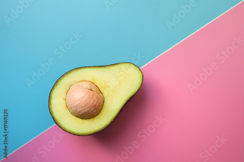 close up of avocado sliced in half for background