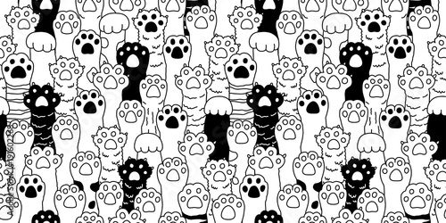 obraz lub plakat Cat paw seamless pattern cat breed isolated kitten claw dog paw hand vector wallpaper background doodle illustration