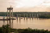 Construction of a large bridge across the great Dnieper River