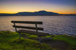 bench overlooking Nanaimo bay, taken from Jack Point and Biggs Park in Nanaimo, British Columbia.