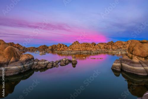 Aluminium Arizona Sunset above Watson Lake in Prescott, Arizona