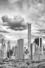Black and white picture of stormy sky over Manhattan skyline, New York City, USA.