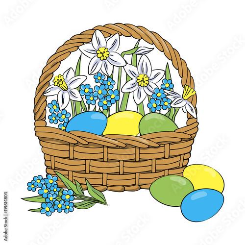 vector kolor niebiesko żółta róża niebieski Wielkanocne jaja w koszu z kwiatami narcyz żonkil niezapominajka wystrój