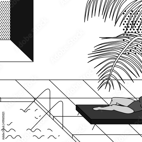 Tropic pool scene with woman in swimsuit. Vector illustration. - 191615821