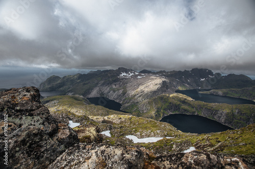 Keuken foto achterwand Natuur View from mountain to sea and lakes on the Lofoten island