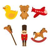Kids Toys  Soldier Teddy Airplane Duck Rockinghorse  Illustration Wall Sticker