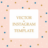 Pink template for instagram. Vintage and dots decoration - 191622877