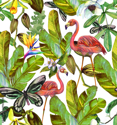 Seamless watercolor pattern with hibiscus, palm leaves, branch of strelitzia, calathea, parrot.Tropic background - 191631404