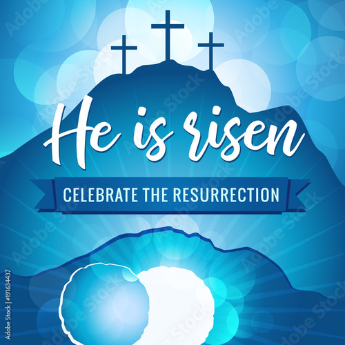 Hi is risen holy week easter banner easter christian motive vector easter christian motive vector invitation to an easter sunday service with text he is risen on a background of rolled away from the tomb stone stopboris Images