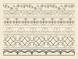 floral and curved ornamental borders - set of vector decorations - 191639651