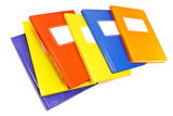 Colorful notebooks isolated on white background