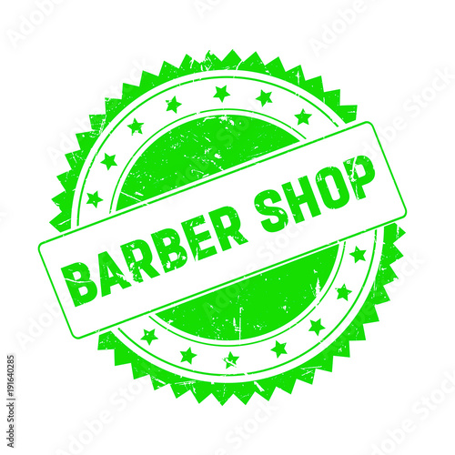 Barber Shop green grunge stamp isolated