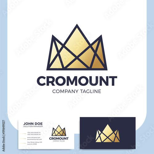 Creative and modern luxury or royal crown mountain logo design