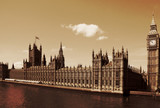 London, United Kingdom - Palace of Westminster (Houses of Parliament) with Big Ben clock tower. - 191650401