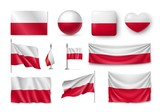 Set Poland flags, banners, banners, symbols, flat icon. Vector illustration of collection of national symbols on various objects and state signs - 191651420