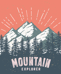 Mountain and landscape vector color image. © raven