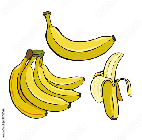 Set of Yellow Bananas. - 191652844