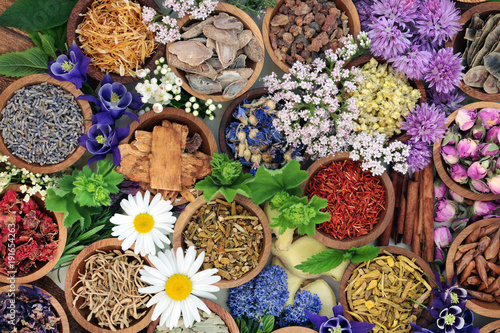 Herbal medicine with herbs and flowers used in chinese and natural alternative remedies with forming an abstract background. Top view.