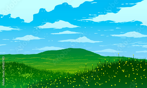 Foto op Canvas Blauw Vector illustration. Green meadows and flowers in spring.