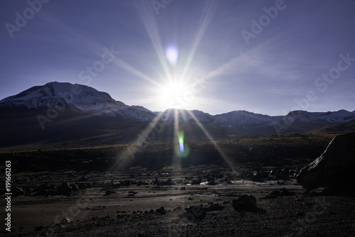 Sunrise Over Geyser Field and the Andes Mountain Range