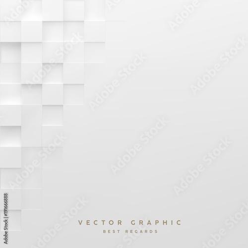 Abstract white square background. Geometric minimalistic cover design. Vector graphic. - 191666888