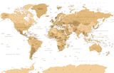 Political Vintage Golden World Map Vector - 191667492