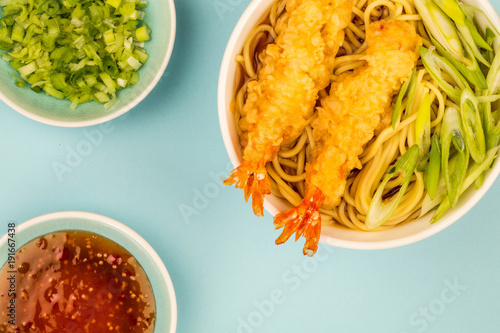 Fotobehang Tijger Japanese Style Tiger Prawn Tempura Noodle Soup With Spring Onions