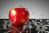 Red apple with water drop