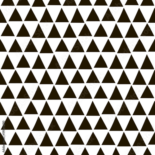 Seamless geometric pattern with black triangles in a hand-drawn style. Vector template suitable for wrapping paper, fabric and bedding.